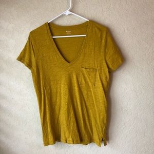 Madewell yellow v-neck pocket T-shirt